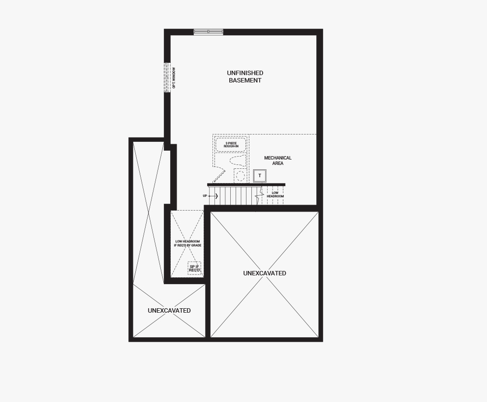 Floorplan of the basement of the 3 bedroom Talbot Corner home design, a 30' Single Family Home available for sale in Brookline, Kanata.