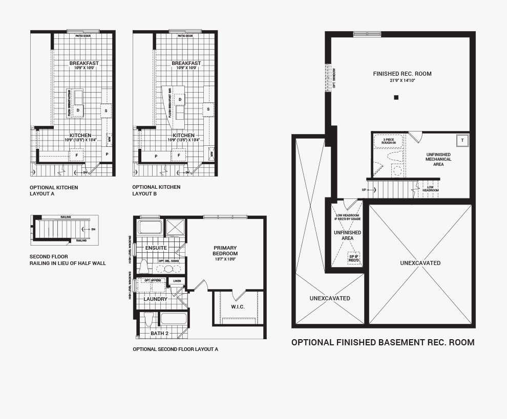 Floorplan of the flex plans of the 3 bedroom Talbot Corner home design, a 30' Single Family Home available for sale in Brookline, Kanata.