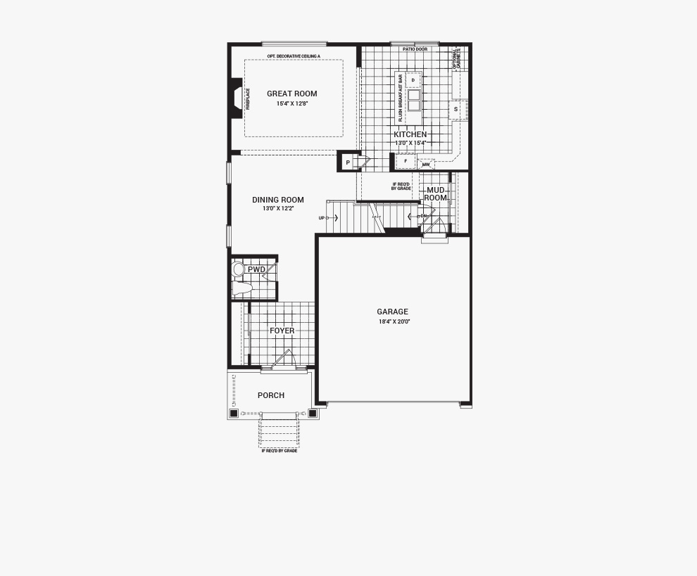 Floorplan of the main floor of the Bronte home design, a 36' Single Family Home available for sale in Brookline, Kanata.