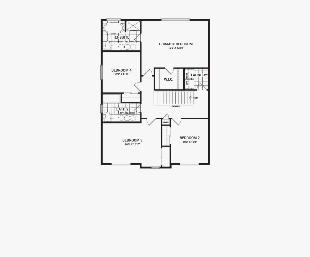 Floorplan of the second floor of the Bronte home design, a 36' Single Family Home available for sale in Brookline, Kanata.