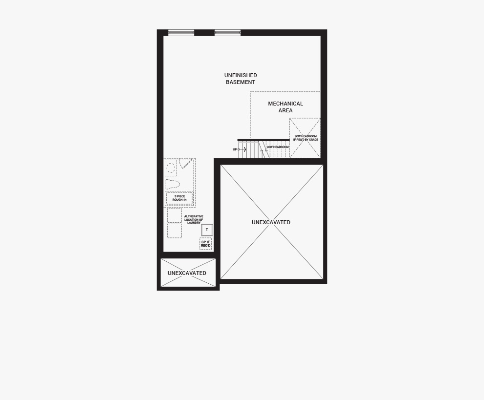 Floorplan of the basement of the Bronte home design, a 36' Single Family Home available for sale in Brookline, Kanata.