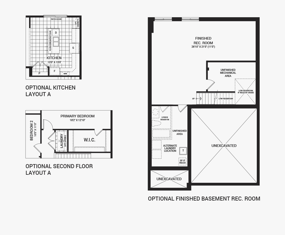 Floorplan of the flex plans of the Bronte home design, a 36' Single Family Home available for sale in Brookline, Kanata.