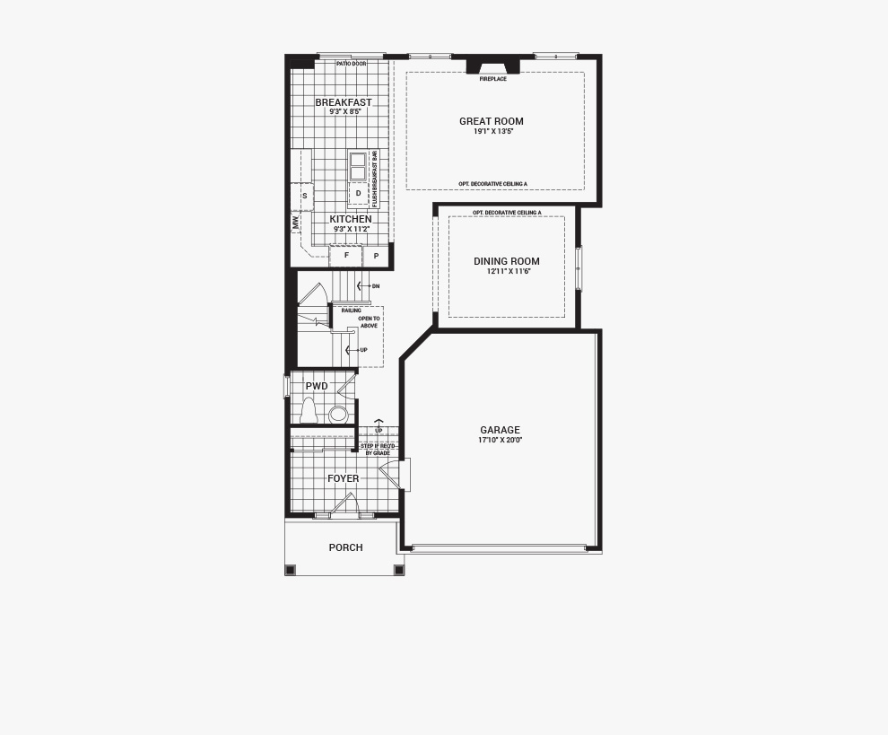 Floorplan of the main floor of the 3 bedroom Clairmont home design, a 36' Single Family Home available for sale in Brookline, Kanata.