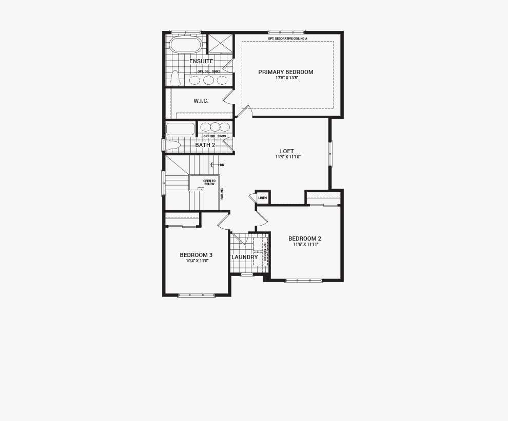 Floorplan of the second floor of the 3 bedroom Clairmont home design, a 36' Single Family Home available for sale in Brookline, Kanata.