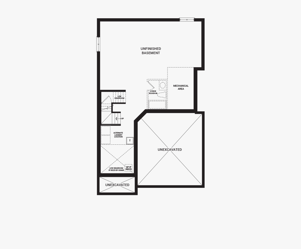 Floorplan of the basement of the 3 bedroom Clairmont home design, a 36' Single Family Home available for sale in Brookline, Kanata.