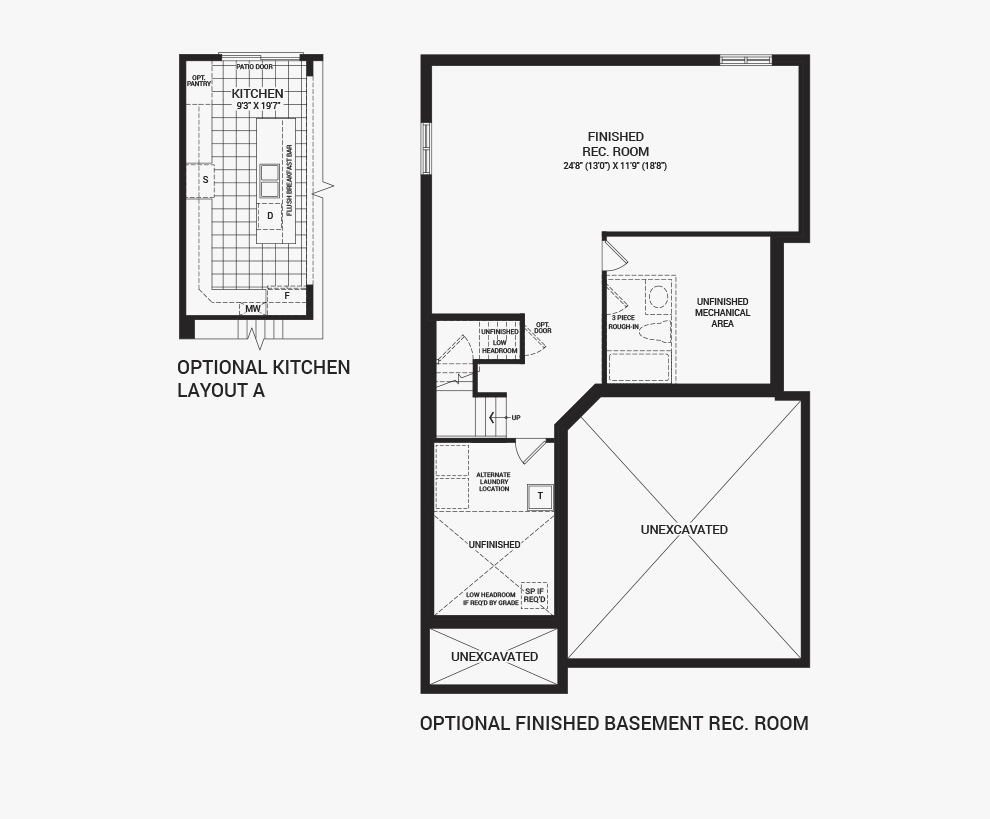 Floorplan of the flex plans of the 3 bedroom Clairmont home design, a 36' Single Family Home available for sale in Arcadia, Kanata.