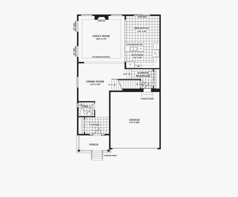 Floorplan of the main floor of the 3 bedroom Fairbank home design, a 36' Single Family Home available for sale in Brookline, Kanata.