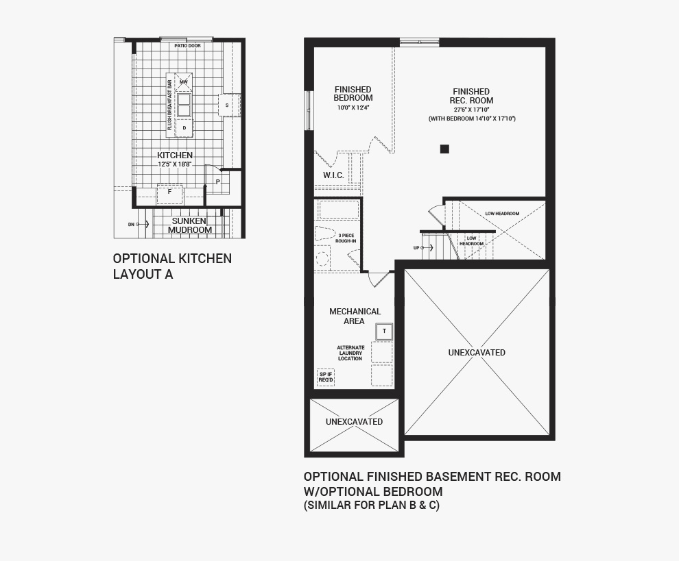 Floorplan of the flex plans of the 3 bedroom Fairbank home design, a 36' Single Family Home available for sale in Brookline, Kanata.