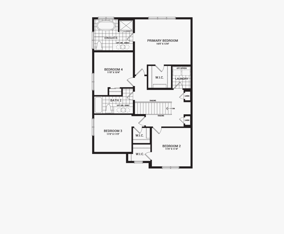 Floorplan of the second floor of the Jasper Corner home design, a 36' Single Family Home available for sale in Brookline, Kanata.