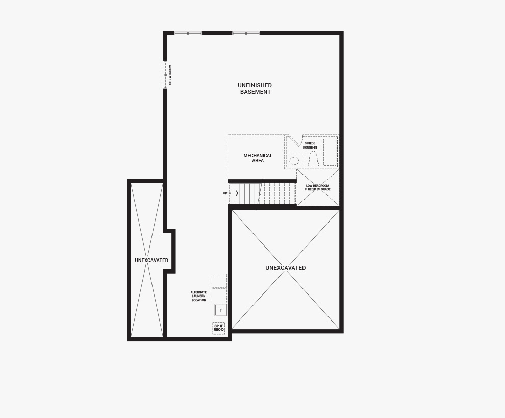Floorplan of the basement of the Jasper Corner home design, a 36' Single Family Home available for sale in Brookline, Kanata.