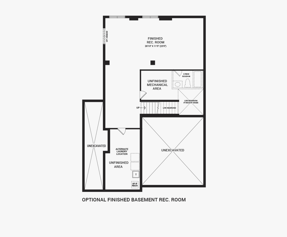 Floorplan of the flex plans of the Jasper Corner home design, a 36' Single Family Home available for sale in Brookline, Kanata.