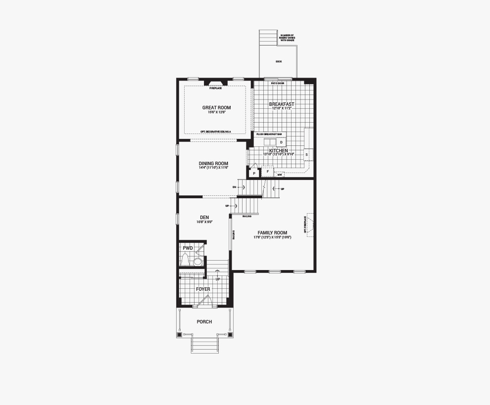 Floorplan of the main floor of the 3 bedroom Killarany home design, a 36' Single Family Home available for sale in Brookline, Kanata.