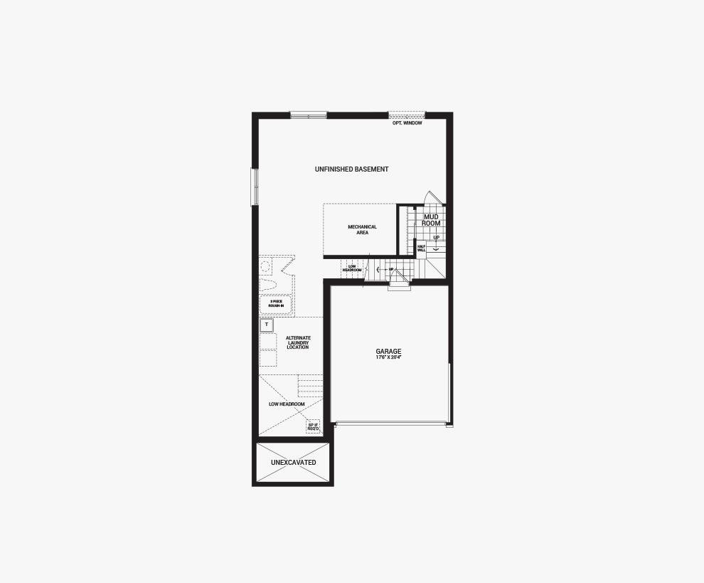 Floorplan of the basement of the 3 bedroom Killarany home design, a 36' Single Family Home available for sale in Brookline, Kanata.