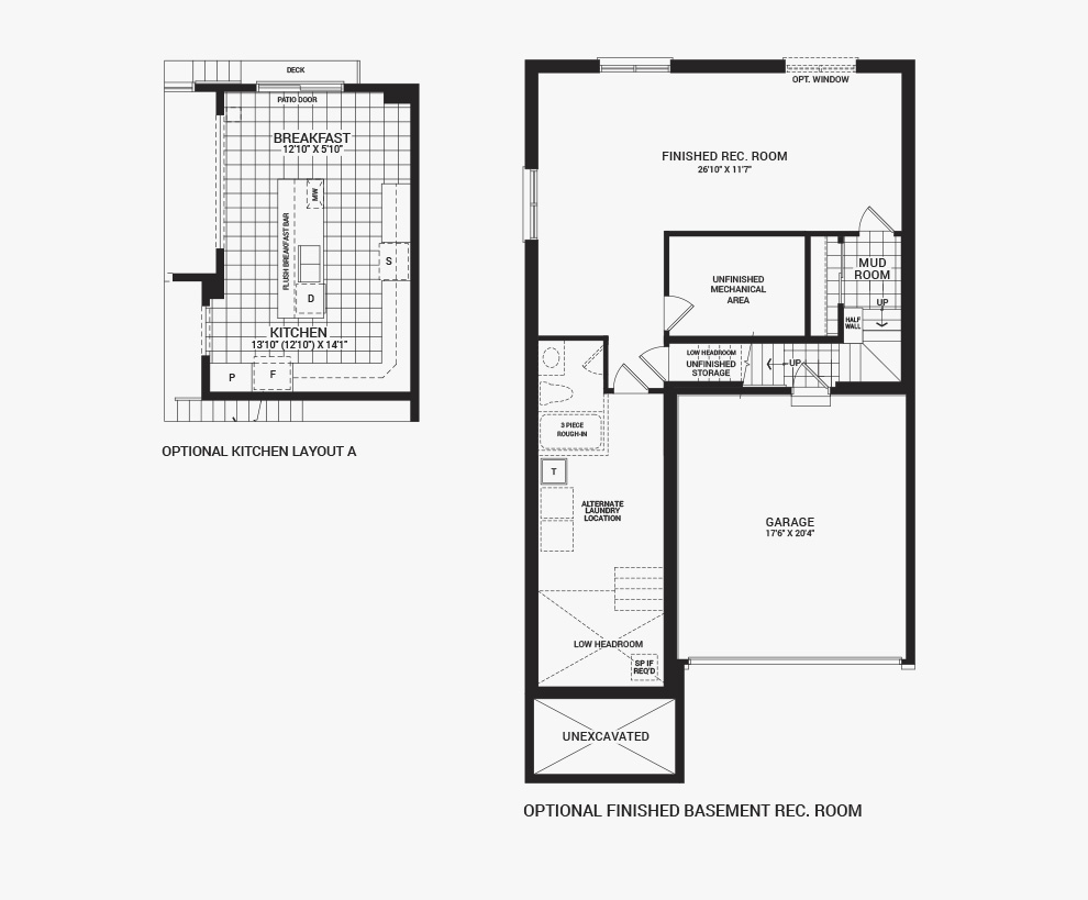 Floorplan of the flex plans of the 3 bedroom Killarany home design, a 36' Single Family Home available for sale in Brookline, Kanata.