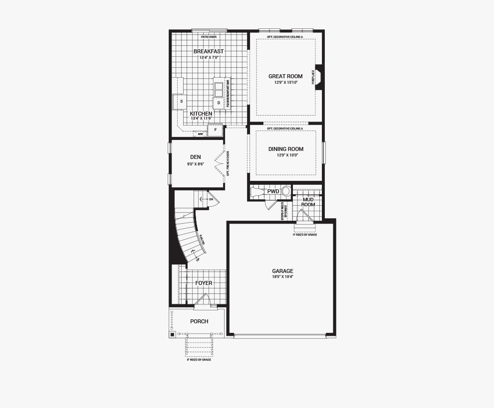 Floorplan of the main floor of the Stanley home design, a 36' Single Family Home available for sale in Brookline, Kanata.