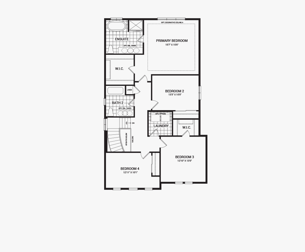 Floorplan of the second floor of the Stanley home design, a 36' Single Family Home available for sale in Brookline, Kanata.