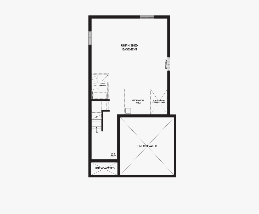 Floorplan of the basement of the Stanley home design, a 36' Single Family Home available for sale in Brookline, Kanata.