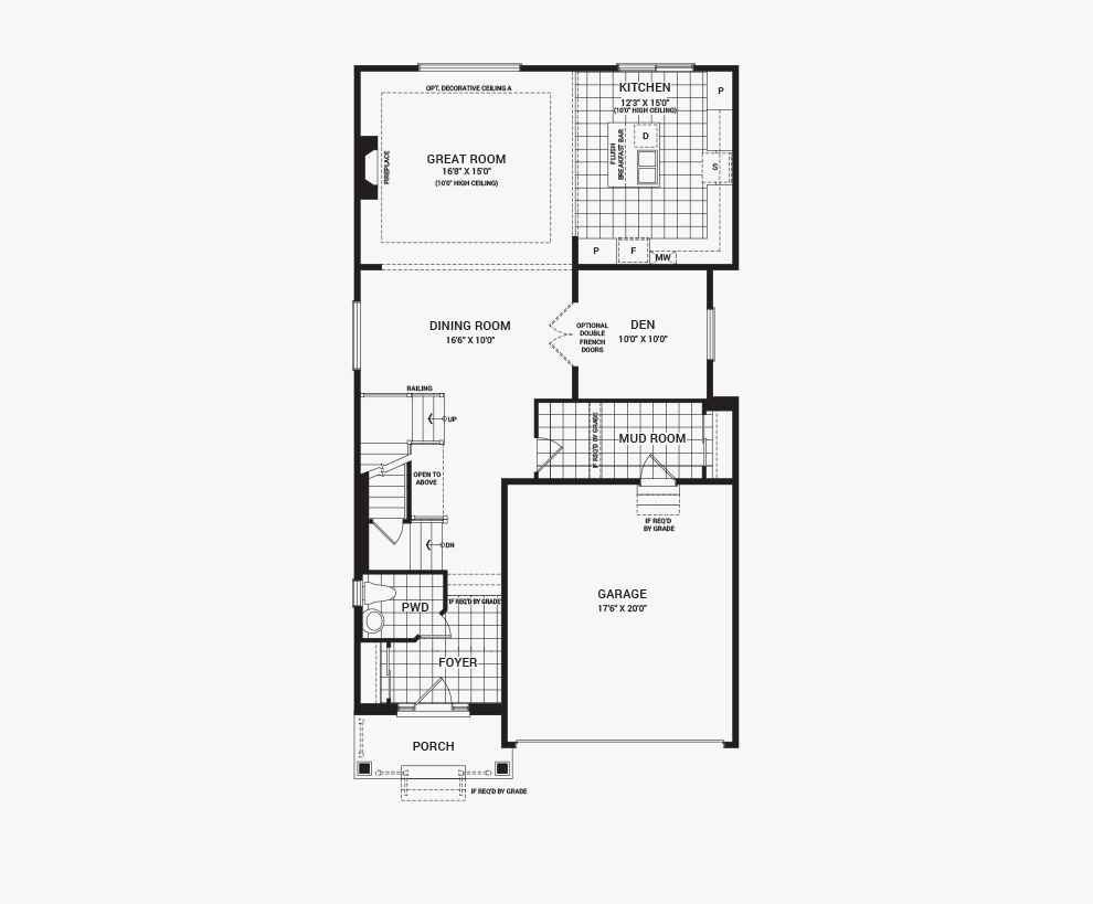 Floorplan of the main floor of the 4 bedroom Waverley home design, a 36' Single Family Home available for sale in Brookline, Kanata.