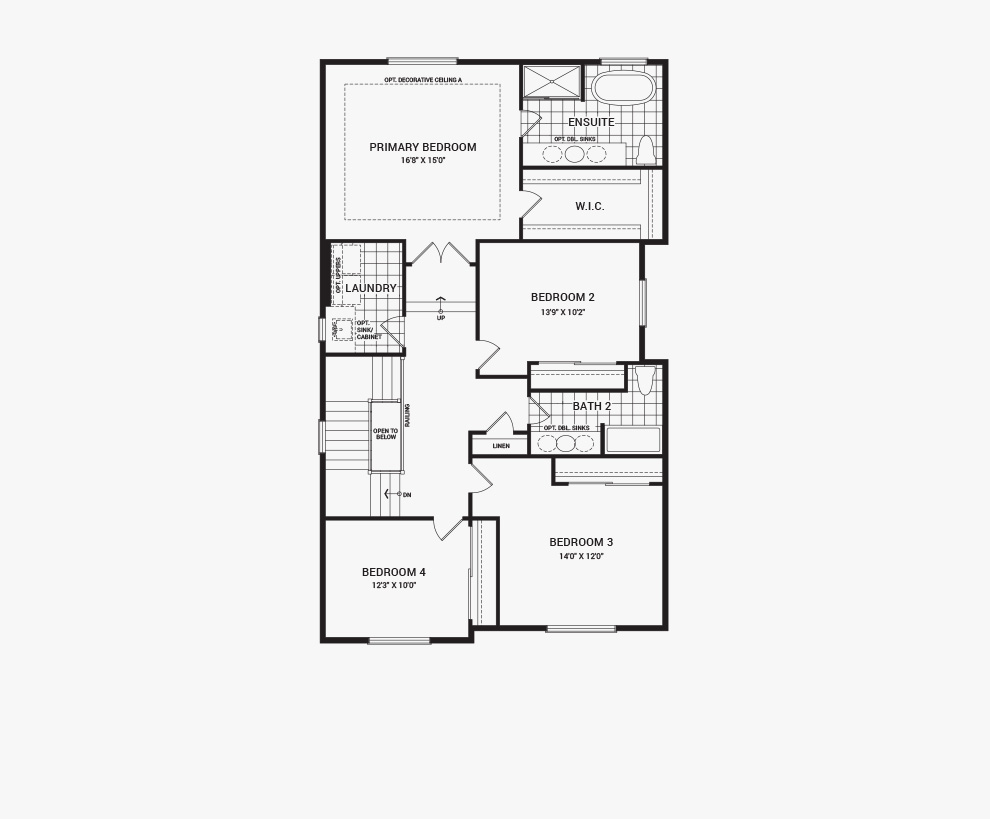 Floorplan of the second floor of the 4 bedroom Waverley home design, a 36' Single Family Home available for sale in Brookline, Kanata.