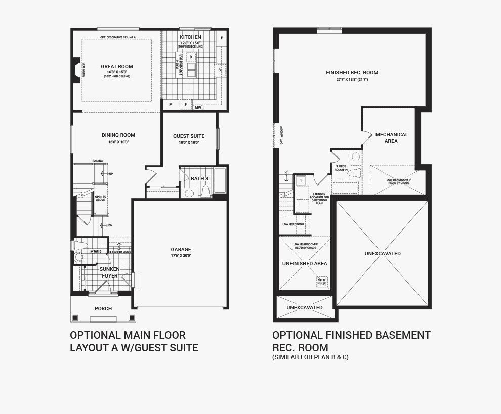 Floorplan of the flex plans of the 4 bedroom Waverley home design, a 36' Single Family Home available for sale in Brookline, Kanata.