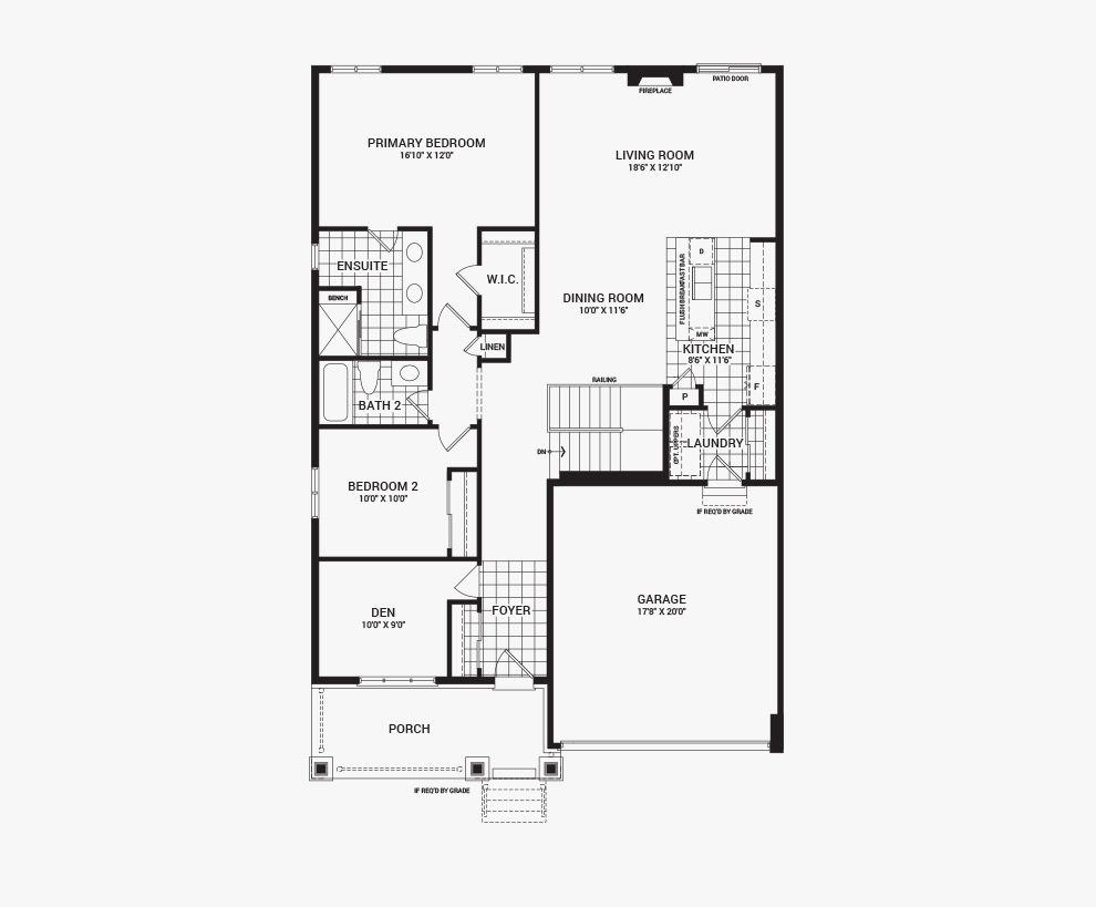Floorplan of the main floor of the Banff home design, a 43' Single Family Home available for sale in Brookline, Kanata.