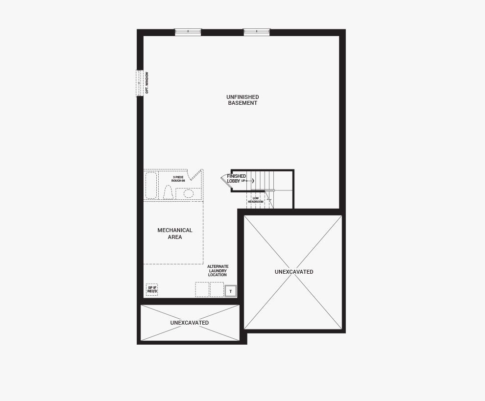Floorplan of the basement of the Banff home design, a 43' Single Family Home available for sale in Brookline, Kanata.