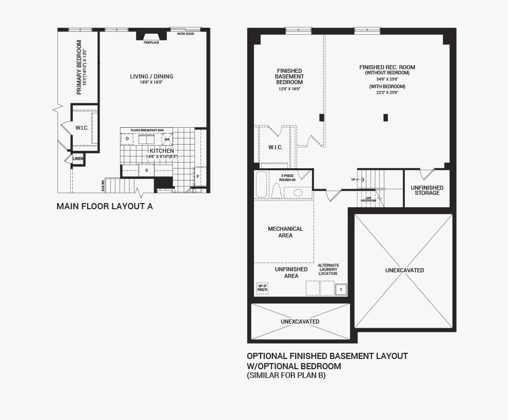 Floorplan of the flex plans of the Banff home design, a 43' Single Family Home available for sale in Brookline, Kanata.