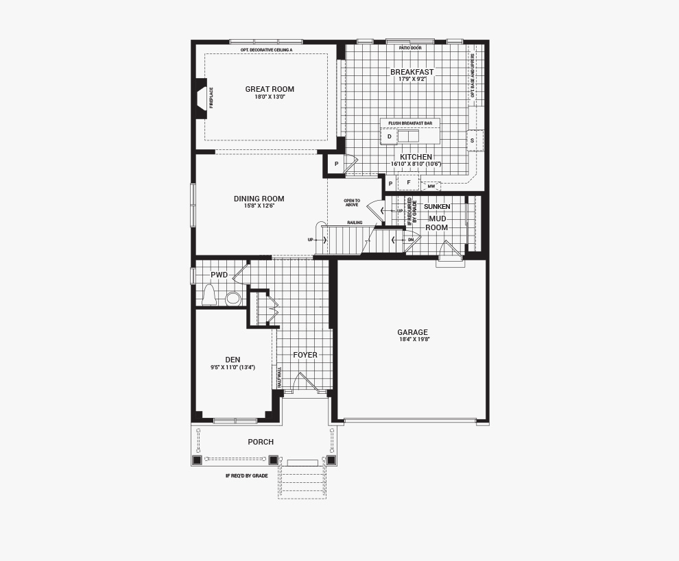 Floorplan of the main floor of the 4 bedroom Mackenzie home design, a 43' Single Family Home available for sale in Brookline, Kanata.