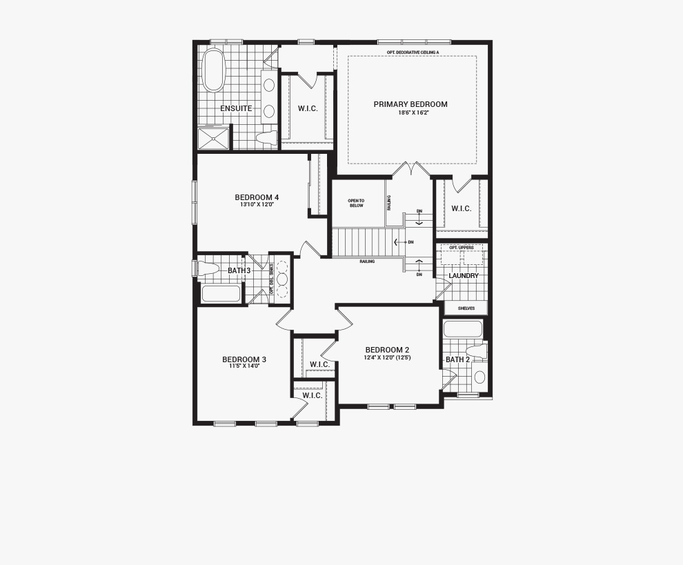 Floorplan of the second floor of the 4 bedroom Mackenzie home design, a 43' Single Family Home available for sale in Brookline, Kanata.