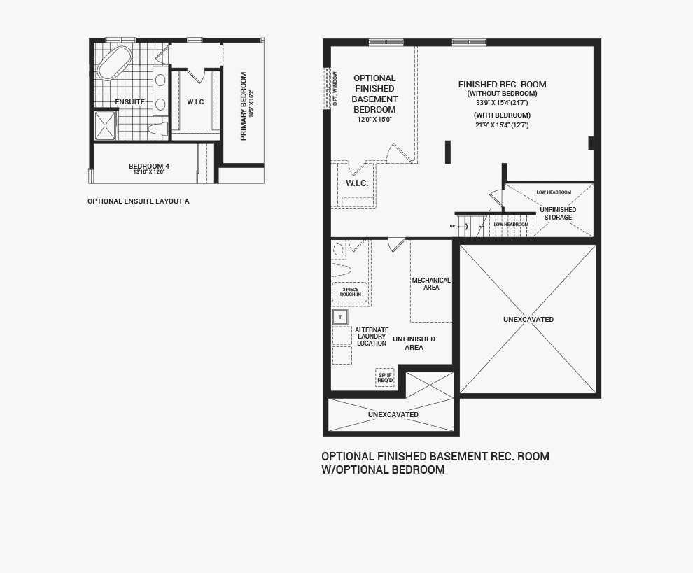 Floorplan of the flex plans of the 4 bedroom Mackenzie home design, a 43' Single Family Home available for sale in Brookline, Kanata.