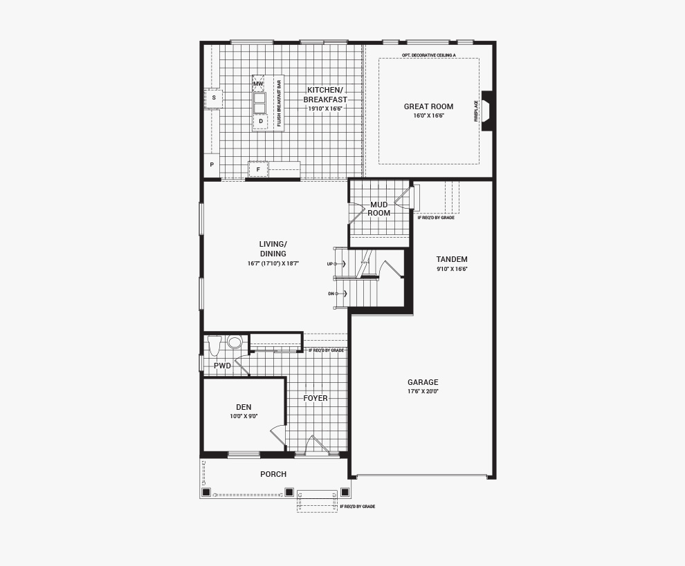 Floorplan of the main floor of the Quinton home design, a 43' Single Family Home available for sale in Brookline, Kanata.
