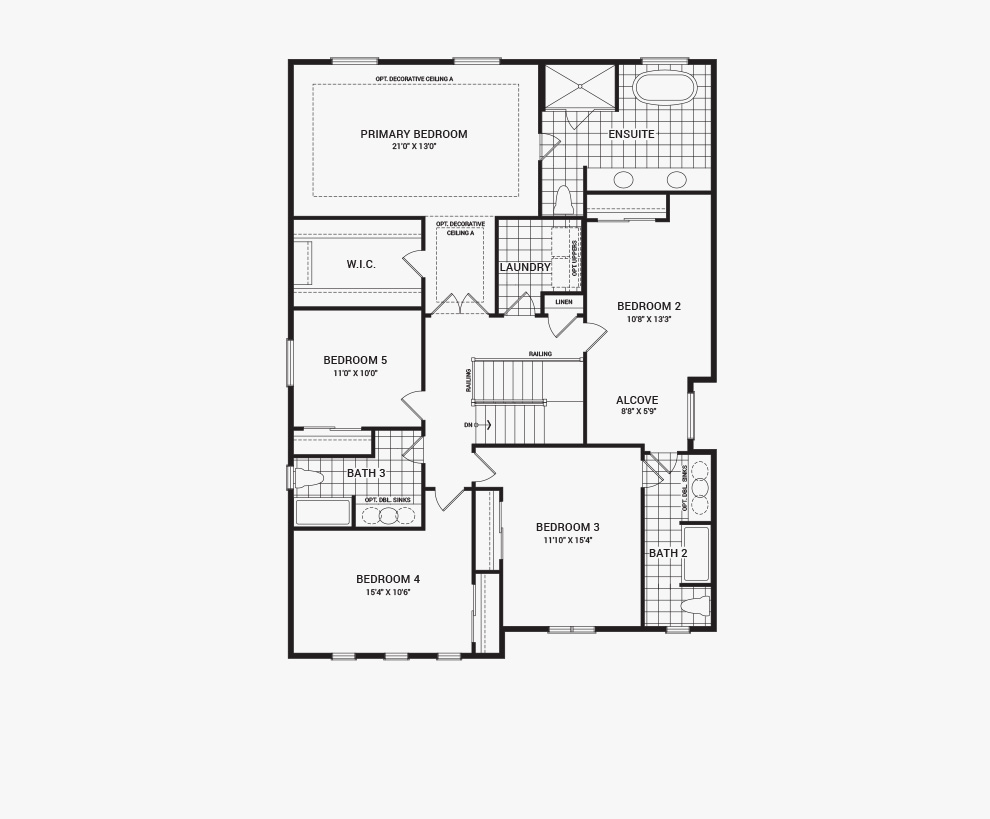 Floorplan of the second floor of the Quinton home design, a 43' Single Family Home available for sale in Brookline, Kanata.
