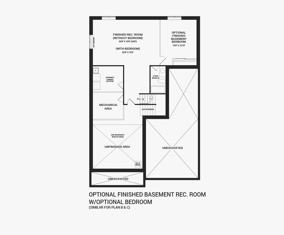 Floorplan of the Flex Plans of the Quinton home design, a 43' Single Family Home available for sale in Brookline, Kanata.