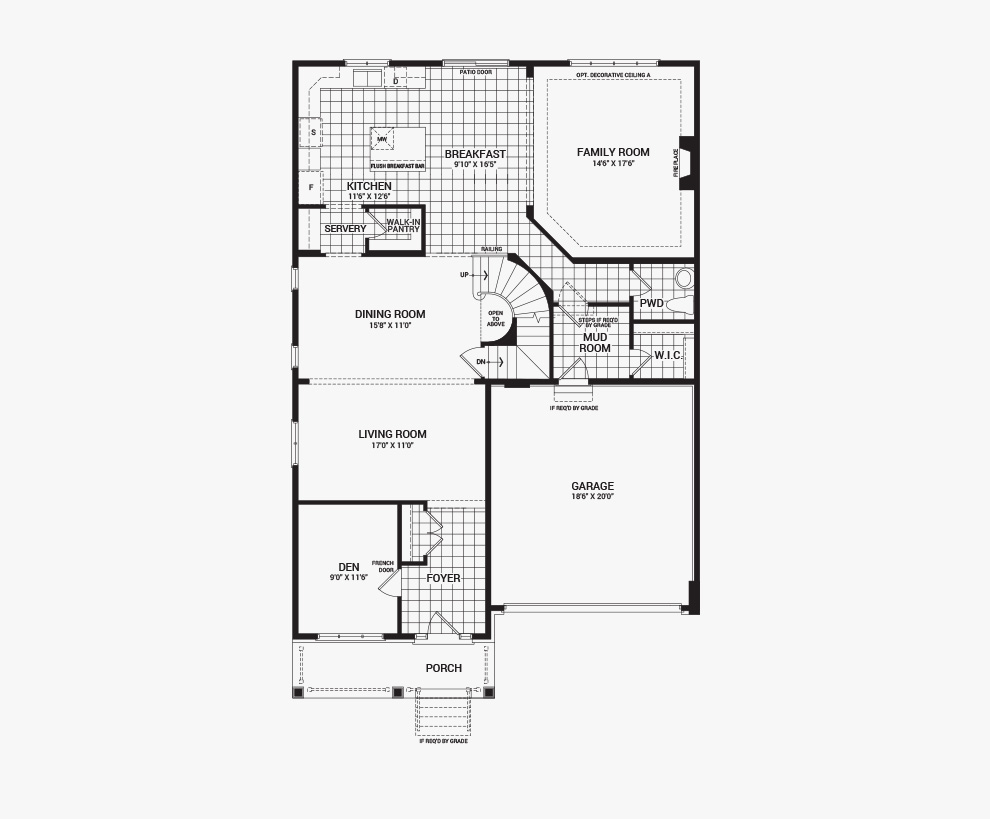 Floorplan of the main floor of the 4 bedroom Okanagan home design, a 43' Single Family Home available for sale in Brookline, Kanata.