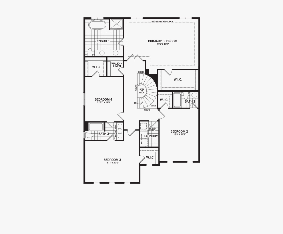 Floorplan of the second floor of the 4 bedroom Okanagan home design, a 43' Single Family Home available for sale in Brookline, Kanata.