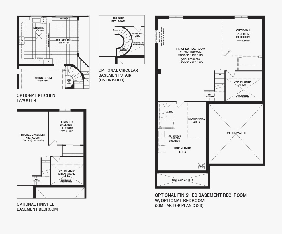 Floorplan of the flex plans of the 4 bedroom Okanagan home design, a 43' Single Family Home available for sale in Brookline, Kanata.
