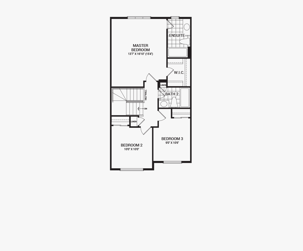 Floorplan of the second floor of the Haven home design, a Executive Townhome available for sale in Brookline, Kanata.