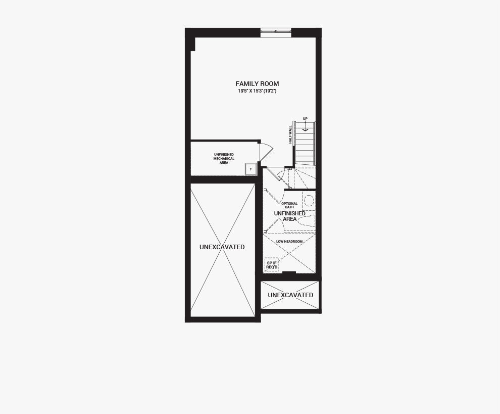 Floorplan of the basement of the Laguna home design, a Executive Townhome available for sale in Brookline, Kanata.