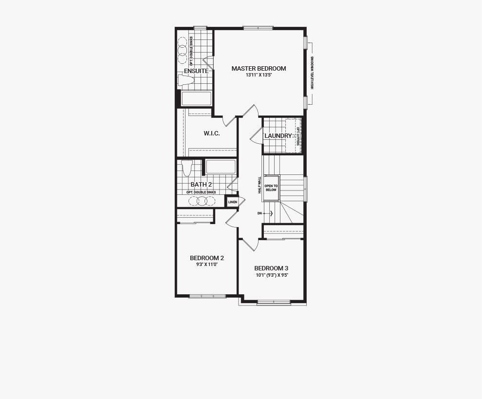 Floorplan of the second floor of the Tahoe End home design, a Executive Townhome available for sale in Brookline, Kanata.
