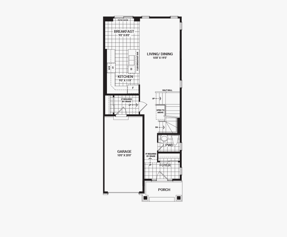 Floorplan of the main floor of the 4 Bedroom Tahoe End home design, a Executive Townhome available for sale in Harmony, Barrhaven.
