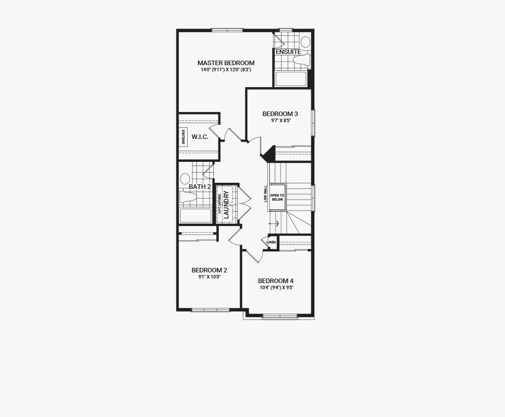 Floorplan of the second floor of the 4 Bedroom Tahoe End home design, a Executive Townhome available for sale in Harmony, Barrhaven.