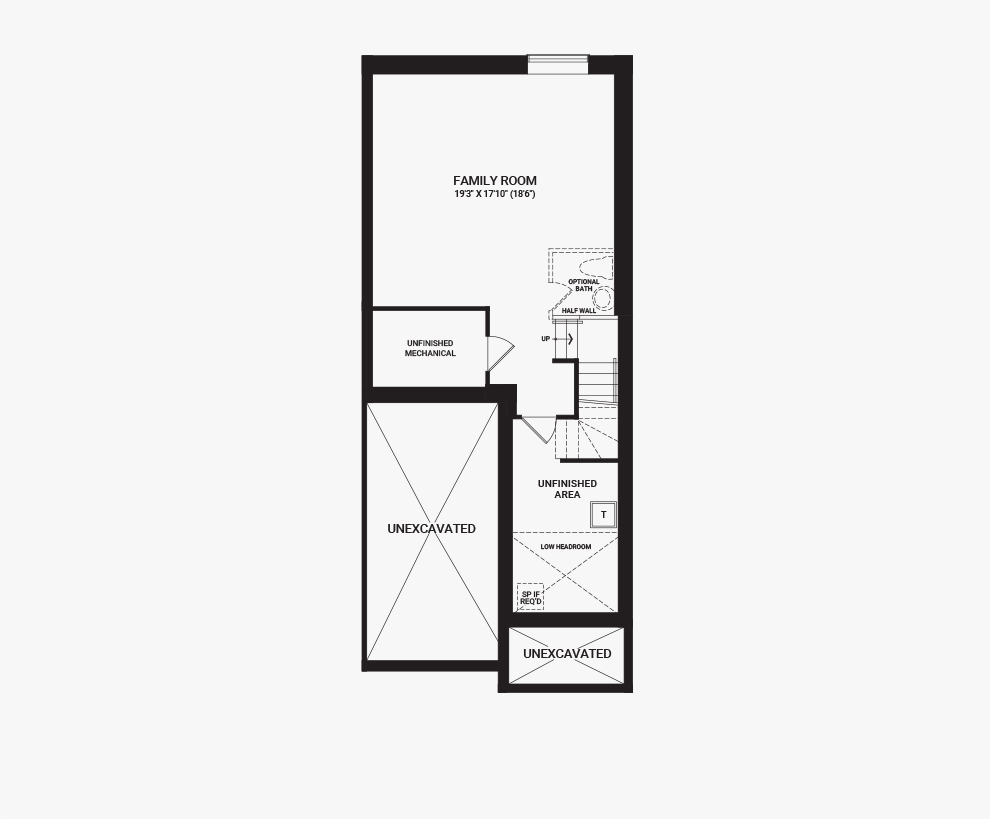 Floorplan of the basement of the 4 Bedroom Tahoe End home design, a Executive Townhome available for sale in Harmony, Barrhaven.