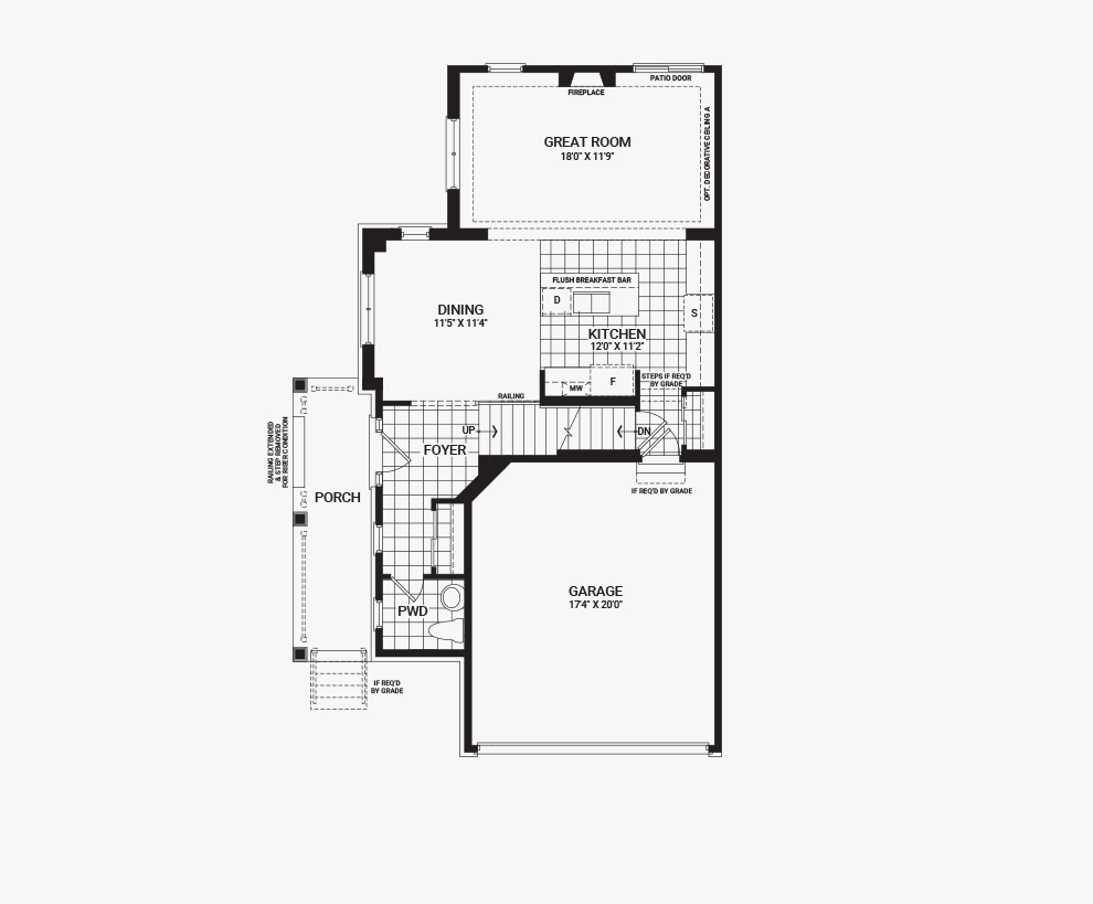 Floorplan of the main floor of the 4 bedroom Jefferson Corner home design, a 30' Single Family Home available for sale in Brookline, Kanata.