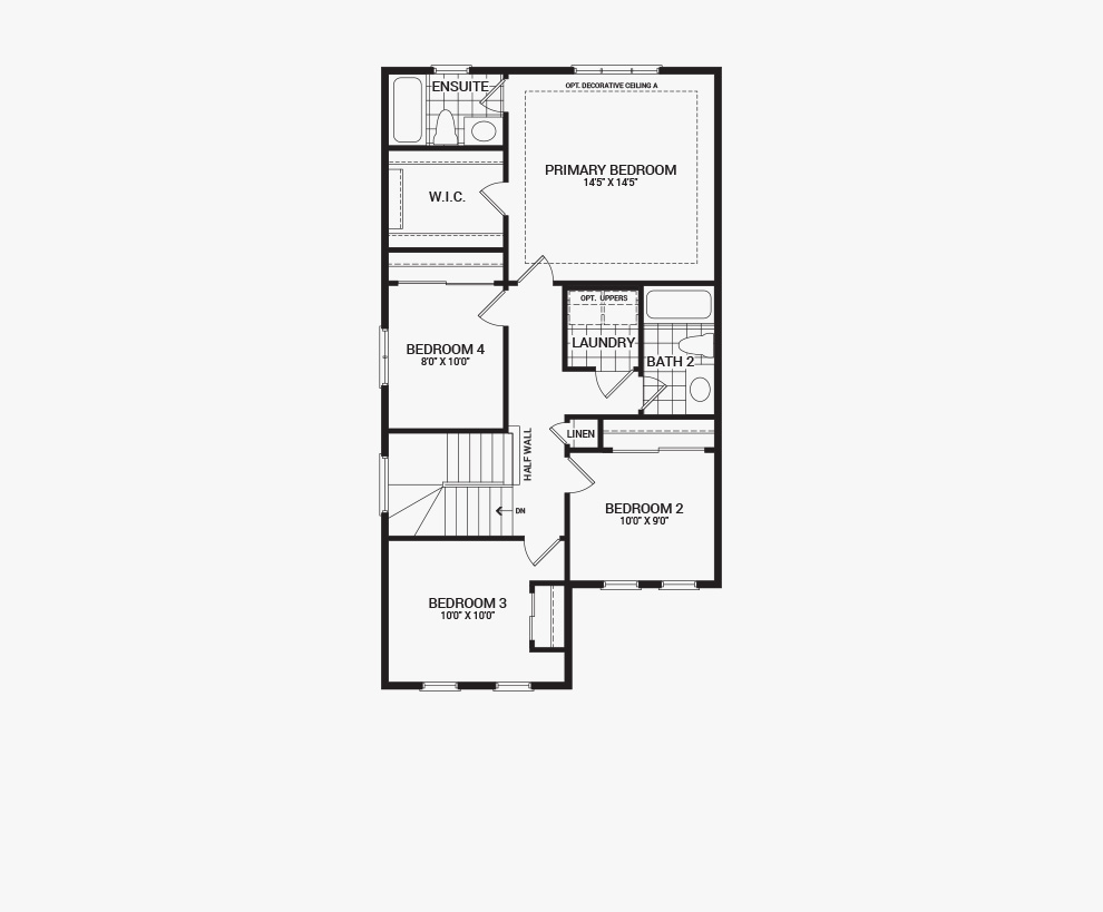 Floorplan of the second floor of the 4 bedroom Kinghurst home design, a 30' Single Family Home available for sale in Brookline, Kanata.