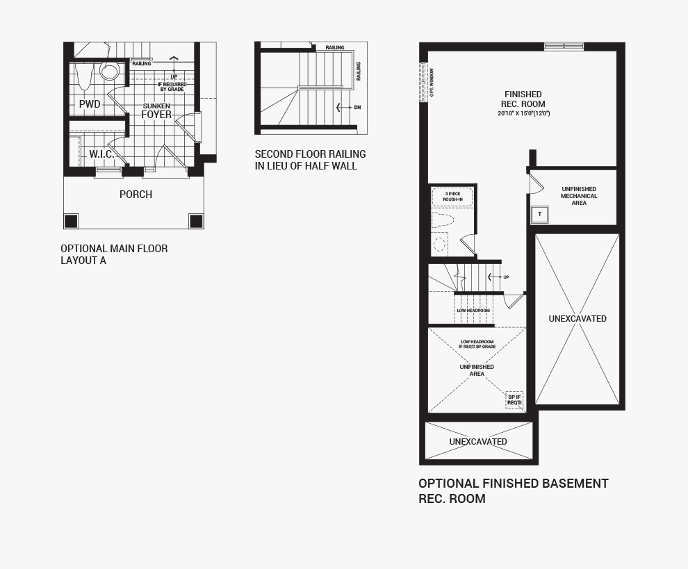Floorplan of the flex plans of the 3 bedroom Kinghurst home design, a 30' Single Family Home available for sale in Brookline, Kanata.