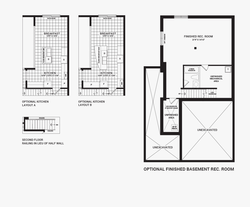 Floorplan of the flex plans of the 4 bedroom Talbot Corner home design, a 30' Single Family Home available for sale in Brookline, Kanata.