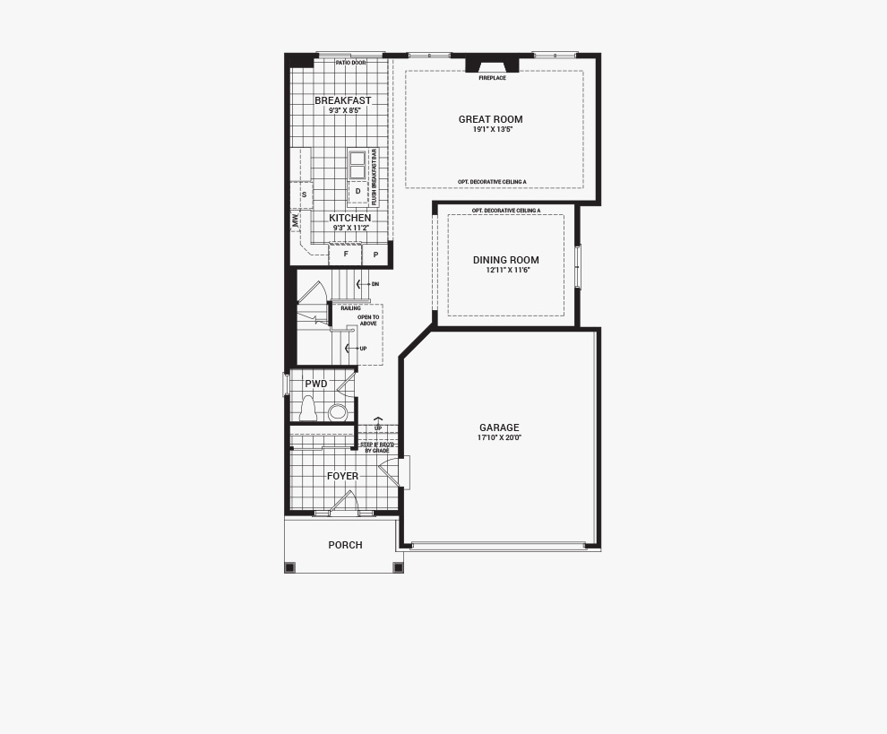 Floorplan of the main floor of the 4 bedroom Clairmont home design, a 36' Single Family Home available for sale in Brookline, Kanata.