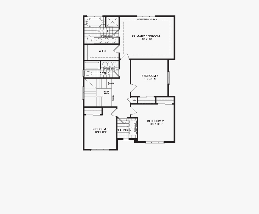 Floorplan of the second floor of the 4 bedroom Clairmont home design, a 36' Single Family Home available for sale in Brookline, Kanata.