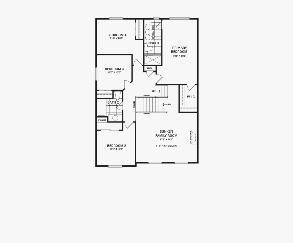 Floorplan of the main floor of the 4 bedroom Fairbank home design, a 36' Single Family Home available for sale in Brookline, Kanata.