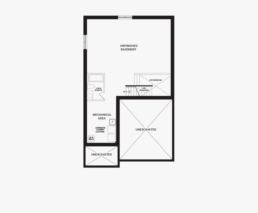 Floorplan of the basement of the 4 bedroom Fairbank home design, a 36' Single Family Home available for sale in Brookline, Kanata.